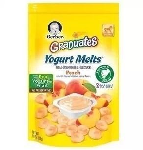 美国直邮 Gerber 嘉宝水果溶豆 黄桃酸奶味 原装进口 宝宝零食