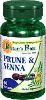 2瓶打包Puritan's Pride西梅和番泻叶胶囊通便排毒