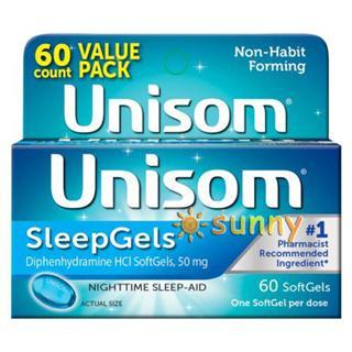 免运费!包美国直邮 UNISOM安眠胶囊帮助睡眠 60粒 液体版见效快
