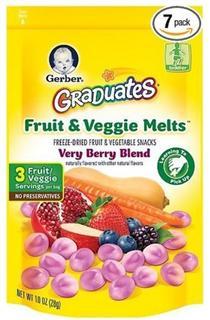 美国直邮 Gerber 嘉宝蔬菜水果溶豆 混合梅石榴胡萝卜酸奶口味