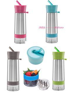 美国直邮 风靡欧美Zinger柠檬杯子神器活力瓶升级版-不锈钢带吸管运动款 多色可选
