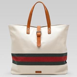 美国代购GUCCI经典红绿条条LOGO配皮大帆布包男女通用5折现货包邮