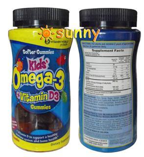 免运费!包美国直邮Vitamin World 儿童鱼油DHA含Omega-3咀嚼软糖