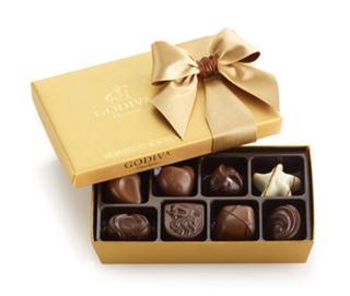 (美国直邮+国内现货在途) Godiva  高迪瓦经典金色金装礼盒 8颗