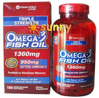 免运费!包美国直邮 vitamin world 三倍深海鱼油180粒 降血脂血压