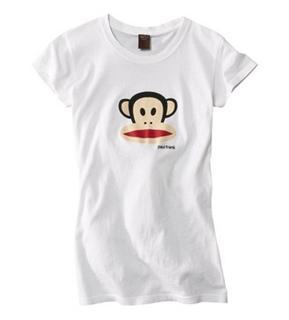 paul frank  大嘴猴 经典 猴头 T恤 (黑色,白色)