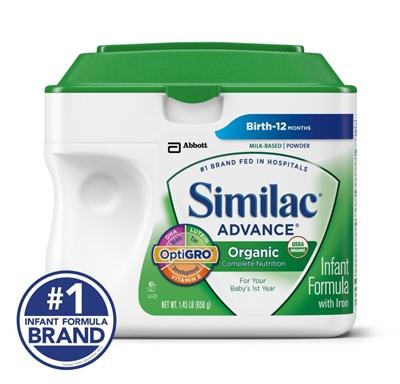 (美国直邮) 雅培Similac1段一段金盾有机奶粉 658克 3罐包邮