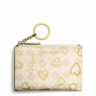 美国直邮 COACH 蔻驰  新款涂层帆布 心形印花 卡片包钥匙包