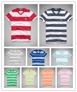 美国官网代购Abercrombie & Fitch男条纹打底衫T恤衫 AF