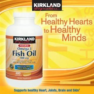 美国直邮:天然深海浓缩鱼油1000mg 400粒 Kirland Omega 3 Fish Oil 1000mg