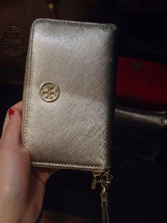 Tory Burch十字纹中长款钱包/手包/零钱包 黑色/金色/红色