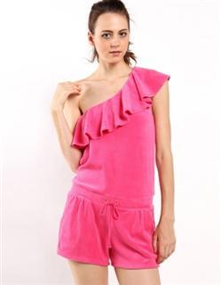 juicy couture 女士粉色左单肩荷叶边毛巾布连身短裤装