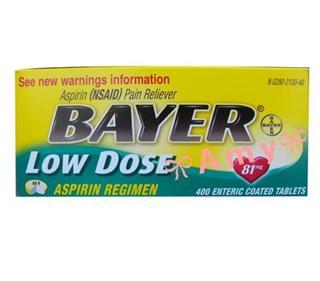 包美国直邮!拜耳Bayer阿司匹林Aspirin低剂量型 400粒