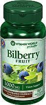 免运费!包美国直邮VITAMIN WORLD成人越橘蓝莓素1000mg 90粒
