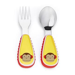 美国skip hop 可爱动物园餐具叉和勺 - 调皮猴