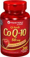 免运费!包美国直邮vitamin world辅酶CO-Q10 50mg 200粒保护心脏