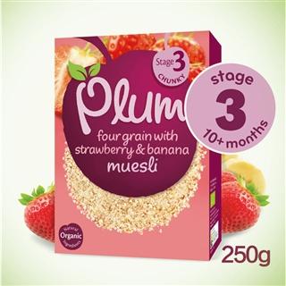英国PlumBaby四种谷物燕麦米粉草莓香蕉味10m英国直邮