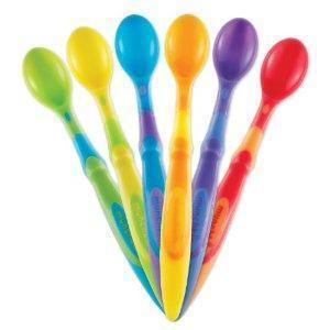 美国Munchkin麦肯奇彩色长柄软头小勺6只装不拆单不含BPA