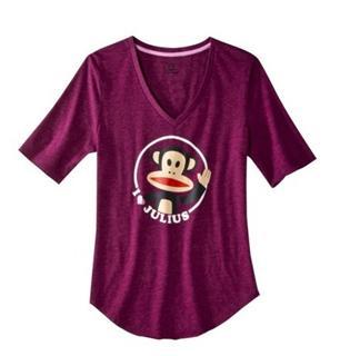 大嘴猴 PAUL FRANK 新品 大嘴猴V领漂亮猴头女士短袖T恤