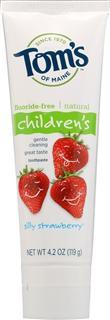 Tom's of Maine儿童天然草莓味无氟牙膏119g安全可吞食