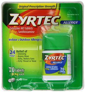 美国Zyrtec成人用24小时抗过敏药70片装 Zyrte