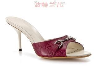 美国专柜直邮4折GUCCI古奇经典压印G LOGO皮凉鞋拖 现货包邮!