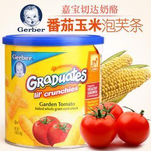美国直邮 GERBER嘉宝泡芙番茄玉米手指泡芙条婴儿宝宝零食 42g