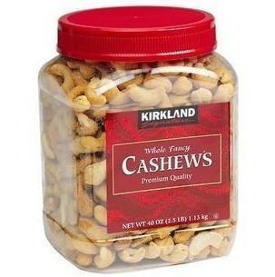 免运费!包美国直邮 Kirkland Cashews 盐焗腰果仁 1130克