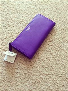 美国直邮非国内现货coach LEGACY莱格西长款真皮女钱包48178紫色