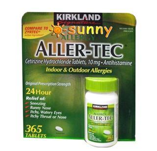 免运费!包美国直邮Kirkland Aller-Tec抗过敏盐酸西替利嗪片365粒