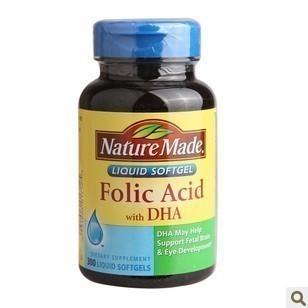 免运费!包美国直邮Nature Made Folic Acid叶酸+DHA+B12 300粒