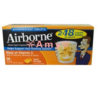 包美国直邮!Airborne 维生素C泡腾片  桔子味 36粒
