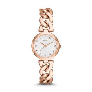 美国直邮包邮包税 Fossil ES3392 玫瑰金螺纹型表带小表盘女式手表