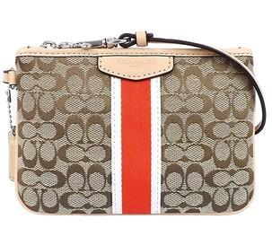 依美尚品 COACH 50594 新款 经典条纹拼接LOGO 钱包手拿手腕女包