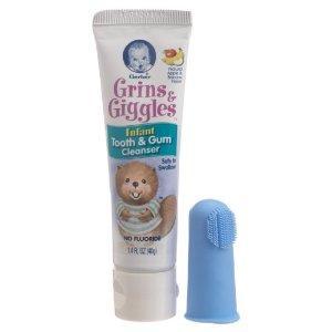 Gerber嘉宝/NUK 婴儿牙齿牙龈清洁牙刷和无氟可吞咽牙膏组合