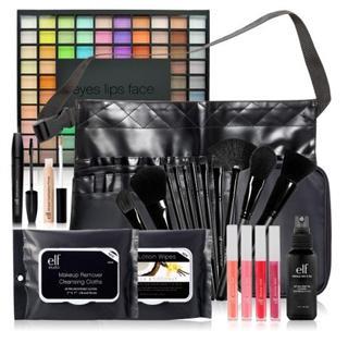 美国直邮ELF化妆师推荐套刷+100色眼影天书+唇彩22件专业套装5折