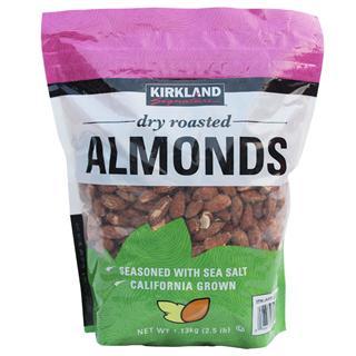 免运费!包美国直邮 Kirkland Almonds美国产大杏仁盐焗味 1.13kg