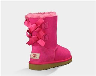 【代购直邮】UGG雪地靴中筒女童冬季时尚双蝴蝶结羊皮毛一体
