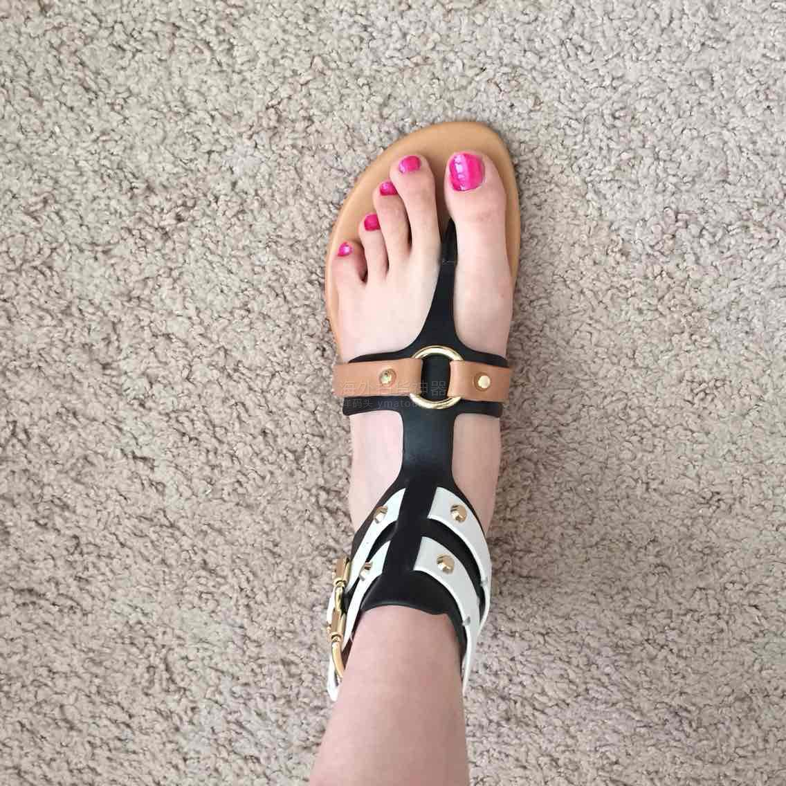 MK铆钉视频罗马鞋这款背景美死啦,真皮处脚踝安卓凉鞋真心图片